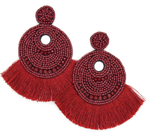 Josie Beaded Tassel Earrings- Burgundy