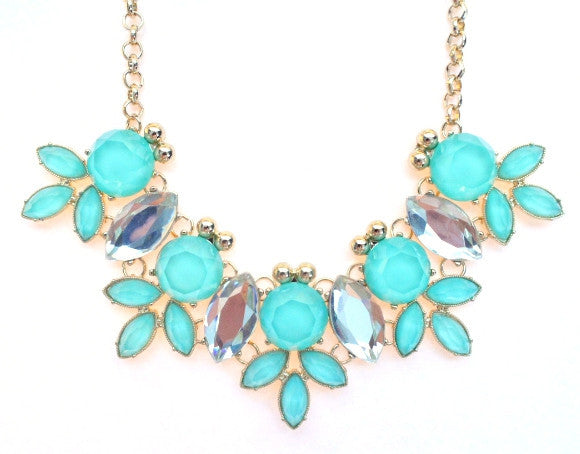 Crystal Statement Necklace- Mint
