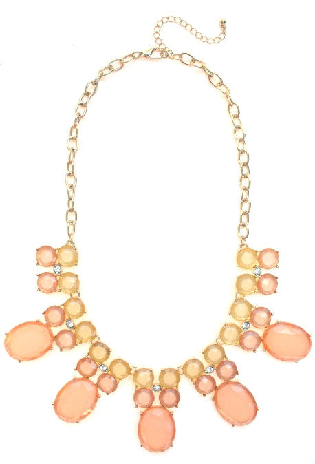 Colorblock Jewels Bib Statement Necklace- Peach