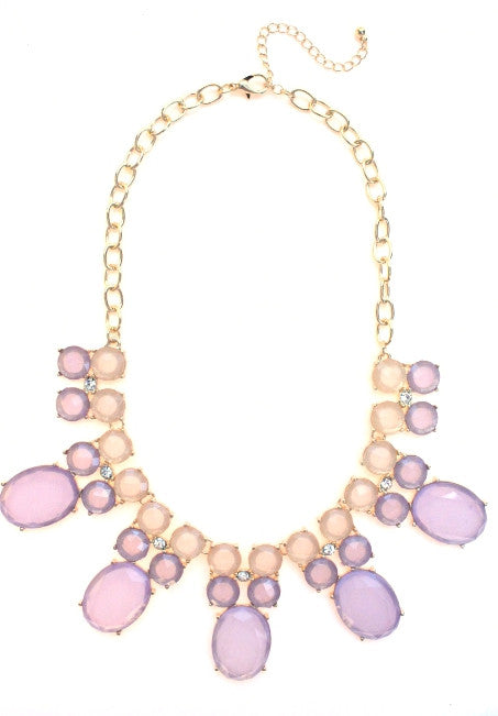 Colorblock Jewels Bib Statement Necklace- Lavender