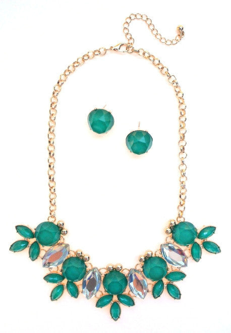 Crystal Statement Necklace- Emerald