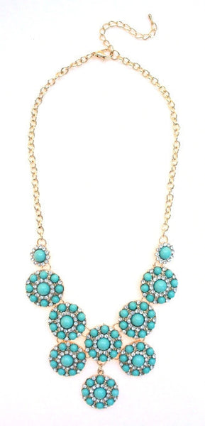 Designer Inspired Mini Circle Layered Necklace- Mint