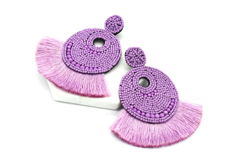 Josie Beaded Tassel Earrings- Lavender