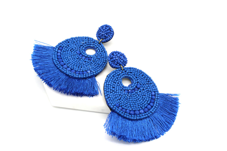 Josie Beaded Tassel Earrings- Blue