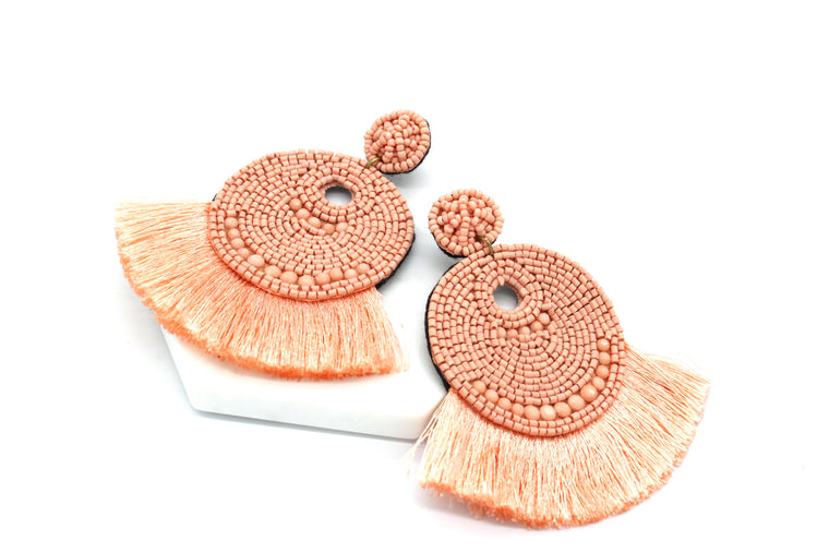 Josie Beaded Tassel Earrings- Peach