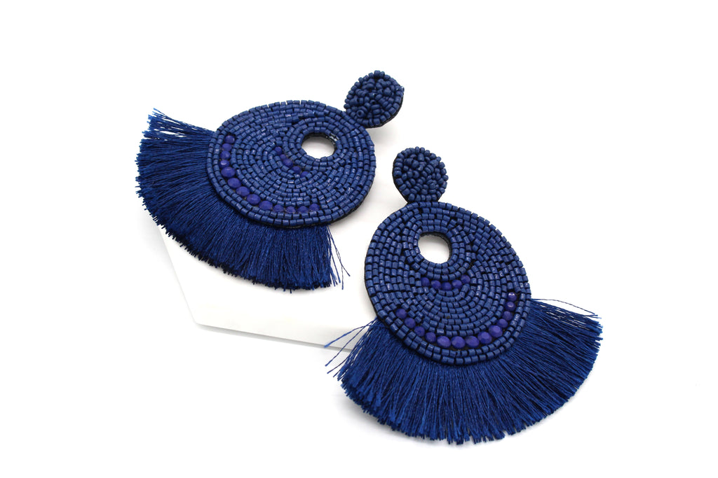 Josie Beaded Tassel Earrings- Navy