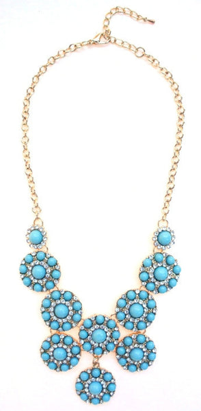 Designer Inspired Mini Circle Layered Necklace- Turquoise