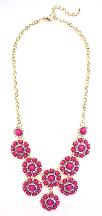 Designer Inspired Mini Circle Layered Necklace- Pink