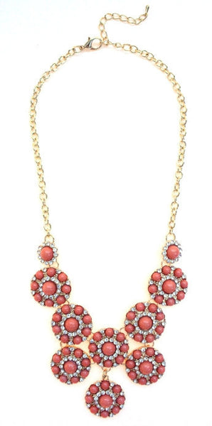 Designer Inspired Mini Circle Layered Necklace- Peach