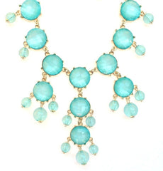 Mini Gold-Tone Chain Bubble Necklace- Mint