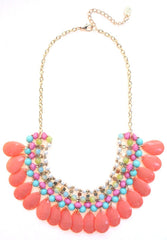 Beaded Layered Teardrop Necklace- Peach