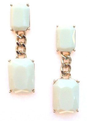 Square Chain Drop Earrings- Ivory
