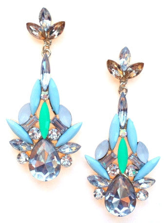 Color Me Elegant Crystal Drop Earrings- Mint