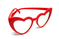Heart Eye Sunglasses- Red Frame/ Rose Mirrored Lens