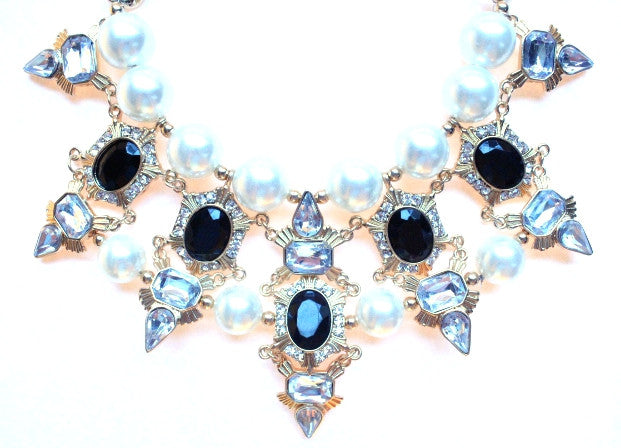 Luxe Chunky Pearl & Deco Jeweled Statement Necklace- Black