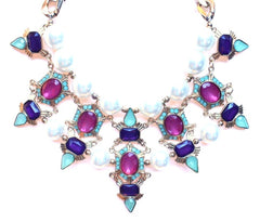 Luxe Chunky Pearl & Deco Jeweled Statement Necklace- Pink/Purple/Mint