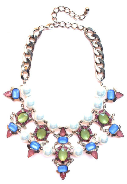 Luxe Chunky Pearl & Deco Jeweled Statement Necklace- Yellow/Blue/Peach