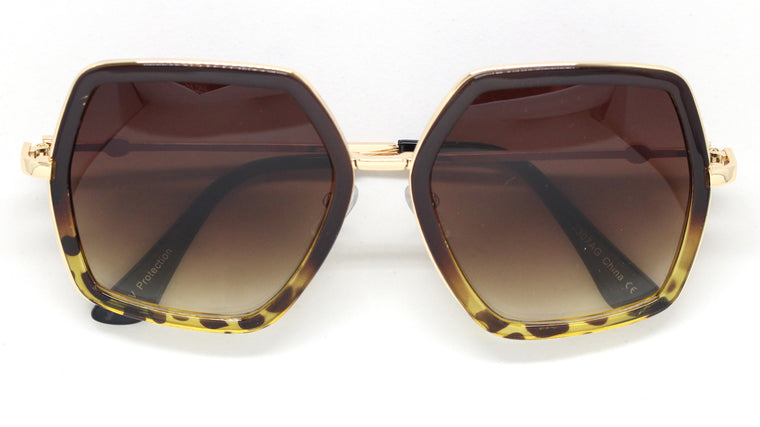 Genevieve Over-sized Sunglasses- Brown/Tortoise Frame