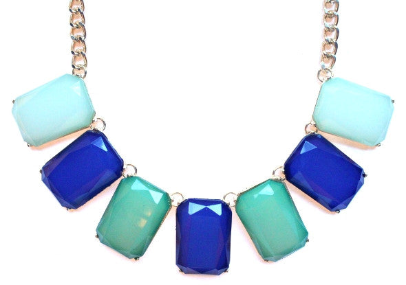 Colorblock Gemstone Jewels Statement Necklace- Blue