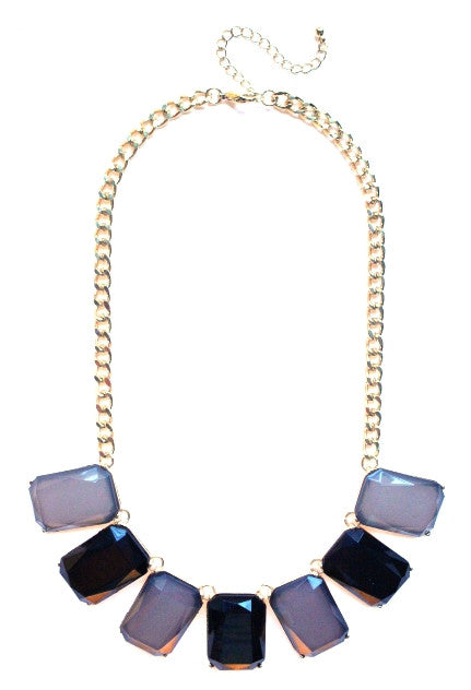 Colorblock Gemstone Jewels Statement Necklace- Grey & Black