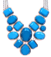 Geometric Statement Necklace- Teal