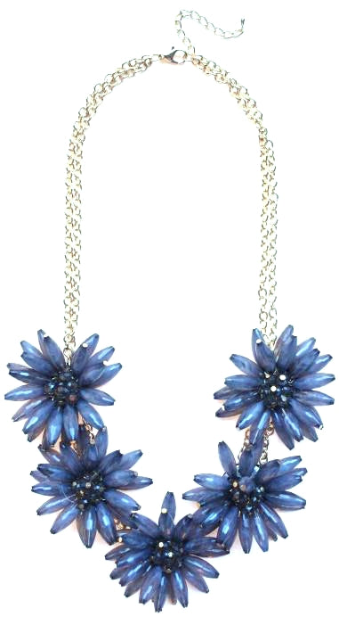 Blossom Flower Statement Necklace- Grey