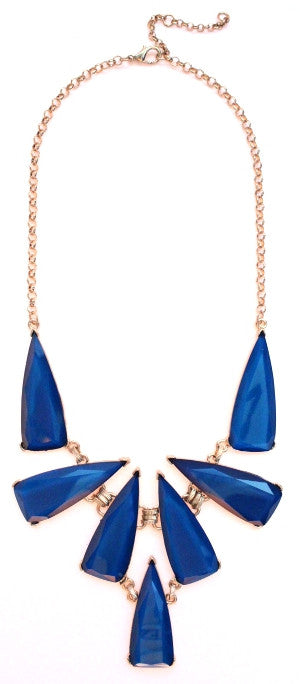 Tribal Jewel Spike Necklace- Blue