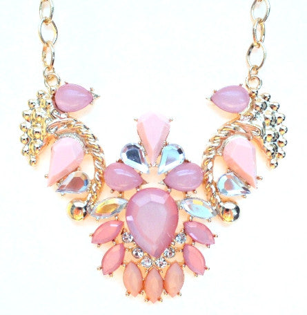 Jeweled Pendant Necklace- Pink