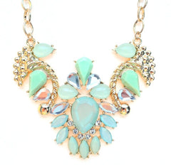 Jeweled Pendant Necklace- Mint