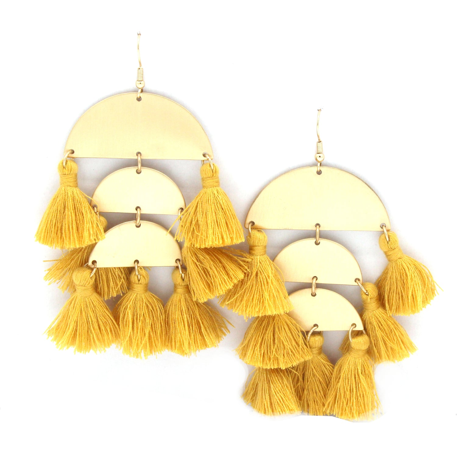 Raine Tassel Earrings- Mustard