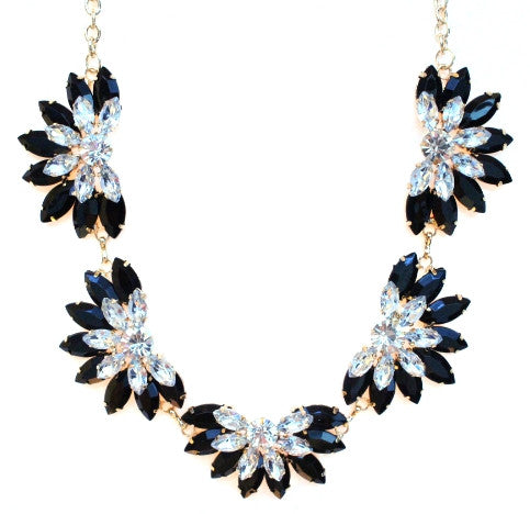 Designer Inspired Fan Crystal Statement Necklace- Black