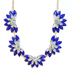 Designer Inspired Fan Crystal Statement Necklace- Royal