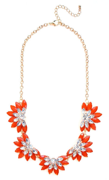 Designer Inspired Fan Crystal Statement Necklace- Orange