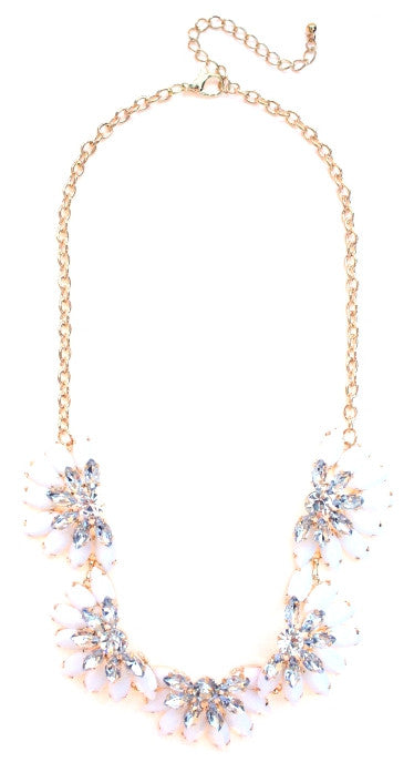 Designer Inspired Fan Crystal Statement Necklace- White