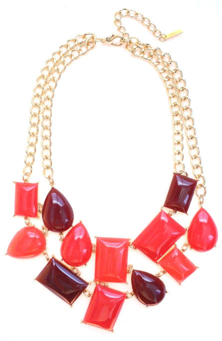 Geometric Bib Necklace- Red & Maroon