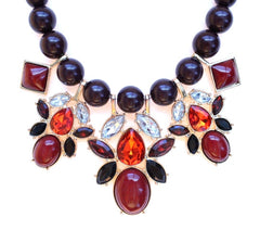 Beaded Mix Crystal Statement Necklace- Burgundy
