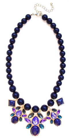 Beaded Mix Crystal Statement Necklace- Violet