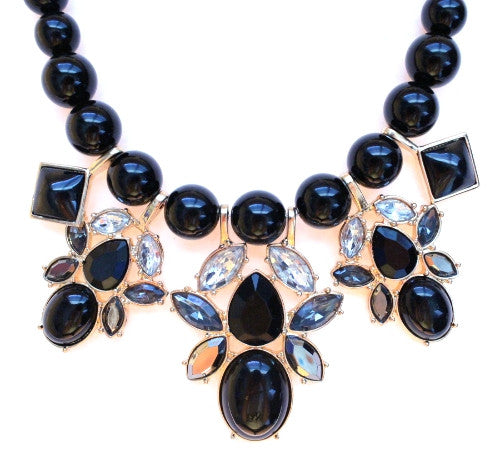 Beaded Mix Crystal Statement Necklace- Black