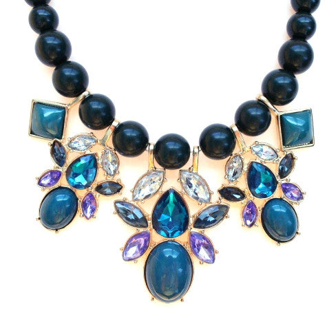 Beaded Mix Crystal Statement Necklace- Teal
