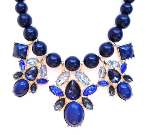 Beaded Mix Crystal Statement Necklace- Navy