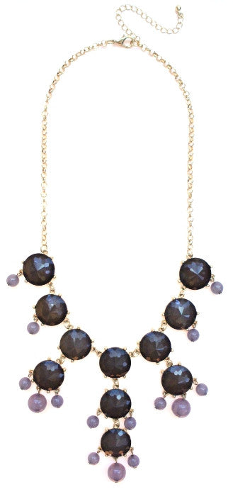 Mini Gold-Tone Chain Bubble Necklace- Grey