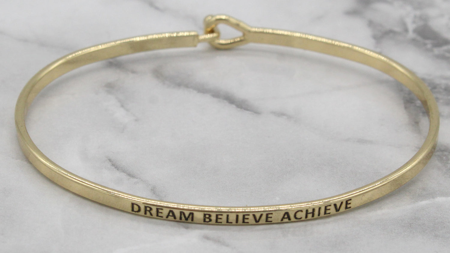 'Dream Believe Achieve' Dainty Bangle Bracelet-Gold