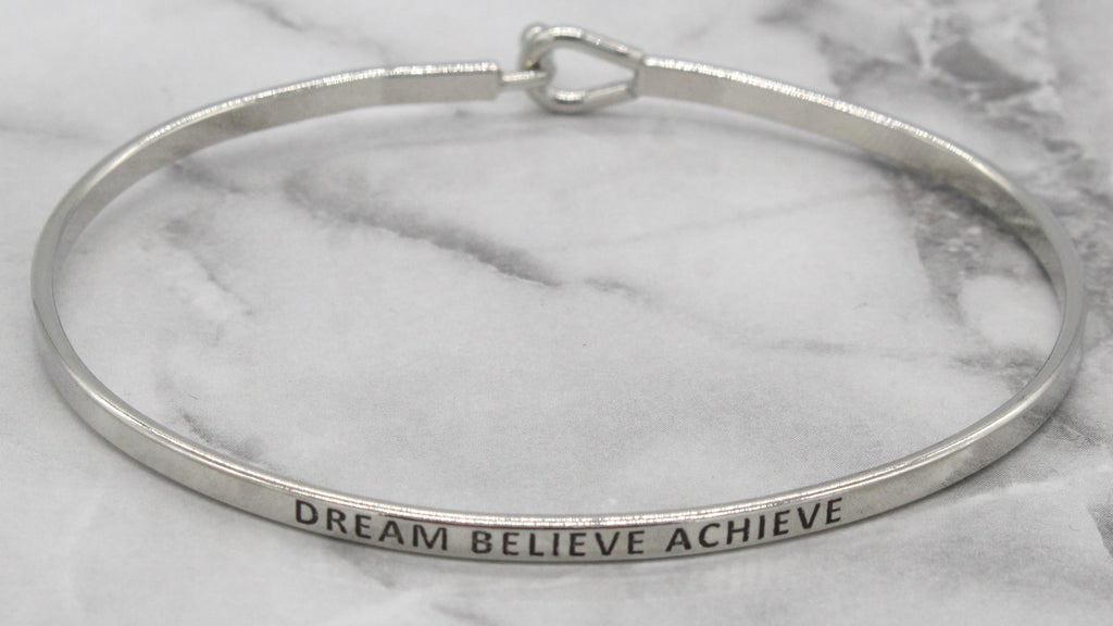 'Dream Believe Achieve' Dainty Bangle Bracelet-Silver