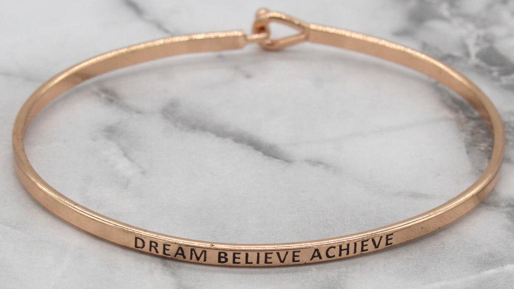 'Dream Believe Achieve' Dainty Bangle Bracelet-Rose Gold