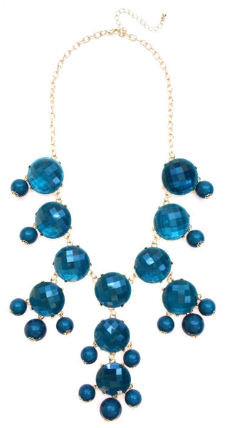 Bubble JEWELED Statement Necklace- Teal