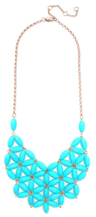 Daisy Bib Bubble Statement Necklace- Turquoise
