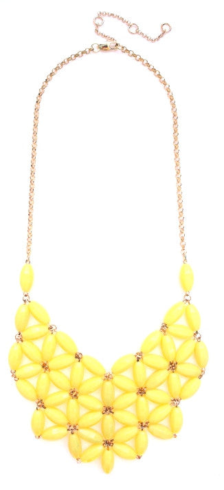 Daisy Bib Bubble Statement Necklace-Yellow
