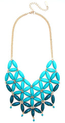 Daisy OMBRE Bib Bubble Statement Necklace- Teal