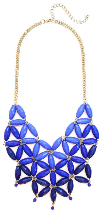 Daisy OMBRE Bib Bubble Statement Necklace- Royal