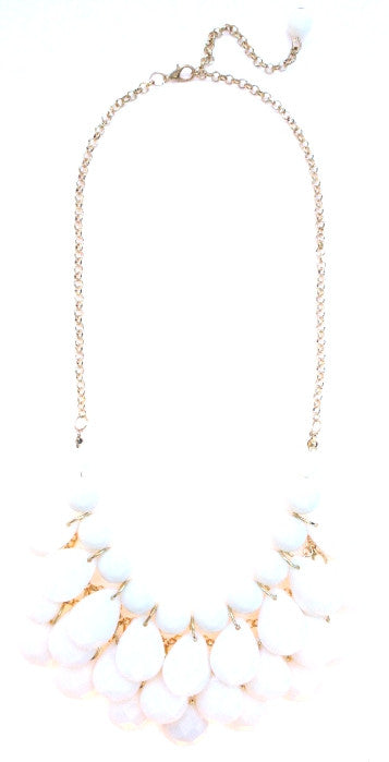 Layered Teardrop Bauble Statement Necklace- White